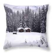 Forest Snow Blanketed Privies - Winter In Banff, Alberta Throw Pillow