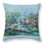 Winter Whispers On Catskill Creek Throw Pillow