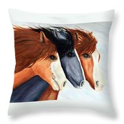 Horse Trio Throw Pillow