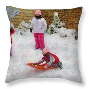 Winter - Winter Is Fun Throw Pillow by Mike Savad