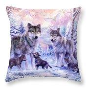 Winter Wolf Family  Throw Pillow