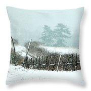 Winter Wonderland - Amazing Winter Landscape With Snow Falling Throw Pillow