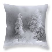 Winter Wonderland Of Yellowstone Throw Pillow