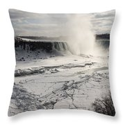 Winter Wonderland - Spectacular Niagara Falls Ice Buildup  Throw Pillow
