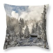 Winter Wonderland - Yellowstone National Park Throw Pillow