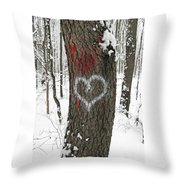 Winter Woods Romance Throw Pillow
