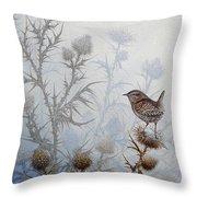 Winter Wren Throw Pillow