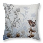 Winter Wren Throw Pillow