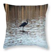 Winter's Blue Heron Throw Pillow