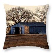 Winter's Cow Barn Throw Pillow