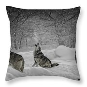 Winters Eve Howling Throw Pillow