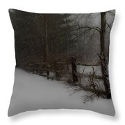 Winter's Fence Throw Pillow