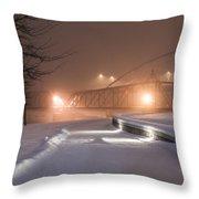 Winter's Night Stroll Throw Pillow