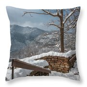 Wintertime At Hawks Nest  Throw Pillow