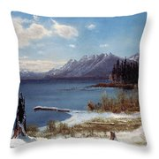 Wintertime Lake Tahoe In Winter The Sierra Nevada California Throw Pillow