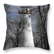 Wintry Lighthouse Throw Pillow