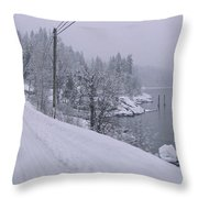Wintery Road Throw Pillow