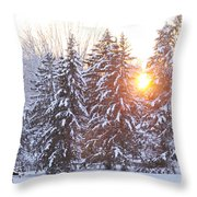 Wintry Sunset Throw Pillow