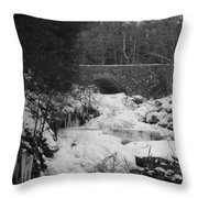 Wintry Waterfall Throw Pillow