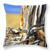 Wire And Fur Throw Pillow