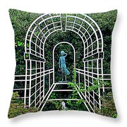 Wire Garden Arch Throw Pillow
