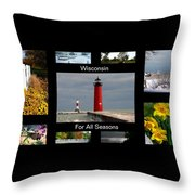 Wisconsin For All Seasons Throw Pillow