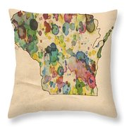 Wisconsin Map Vintage Watercolor Throw Pillow
