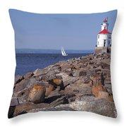 Wisconsin Point Lighthouse 1 K Throw Pillow