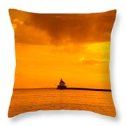 Wisconsin Point Lighthouse Sunrise 1 A Throw Pillow