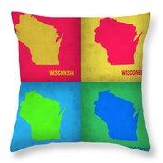 Wisconsin Pop Art Map 1 Throw Pillow