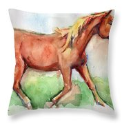Horse Painted In Watercolor Wisdom Throw Pillow