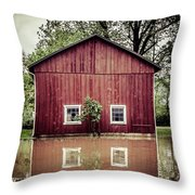 Wise Old Barn Flood Throw Pillow
