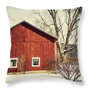Wise Old Barn Winter Time Throw Pillow