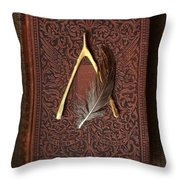 Wishbone And Feather On Antique Book Throw Pillow