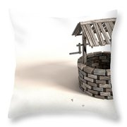 Wishing Well With Wooden Bucket And Rope Throw Pillow