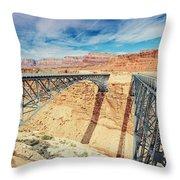 Wispy Clouds Over Navajo Bridge North Rim Grand Canyon Colorado River Throw Pillow