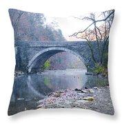 Wissahickon Creek And Valley Green Bridge Throw Pillow