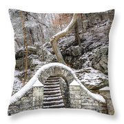 Wissahickon Steps In The Snow Throw Pillow