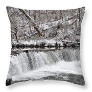 Wissahickon Waterfall In Winter Throw Pillow