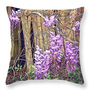 Wisteria And Old Fence Throw Pillow