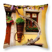 Wisteria And Yellow Wall In Alsace France Throw Pillow