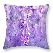 Wisteria Grunge Abstract Throw Pillow