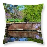 Wisteria In Bloom At Loose Park Bridge Throw Pillow