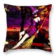 Witch In The Pumpkin Patch Throw Pillow