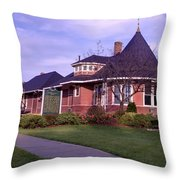Witch's Hat Railroad Depot Throw Pillow
