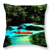 With A Paddle Throw Pillow