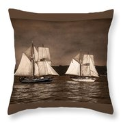 With Full Sails Throw Pillow by Dale Kincaid