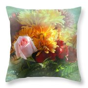 With Love Flower Bouquet Throw Pillow