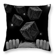 With The Lightest Touch Bw Throw Pillow