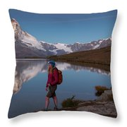 With The Matterhorn In The Background Throw Pillow